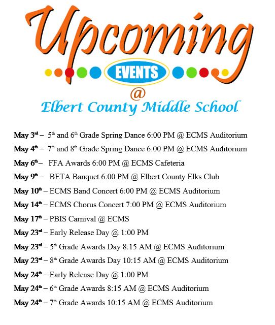 Upcoming Events at ECMS - Mark Your Calendar