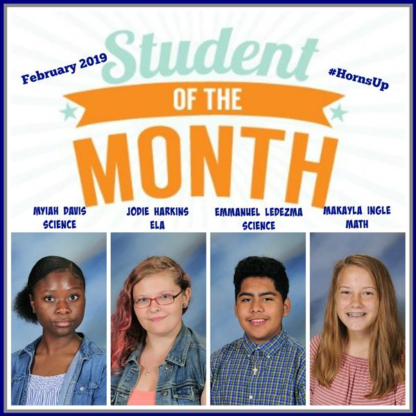 ACADEMIC STUDENTS OF THE MONTH FOR FEB. 2019