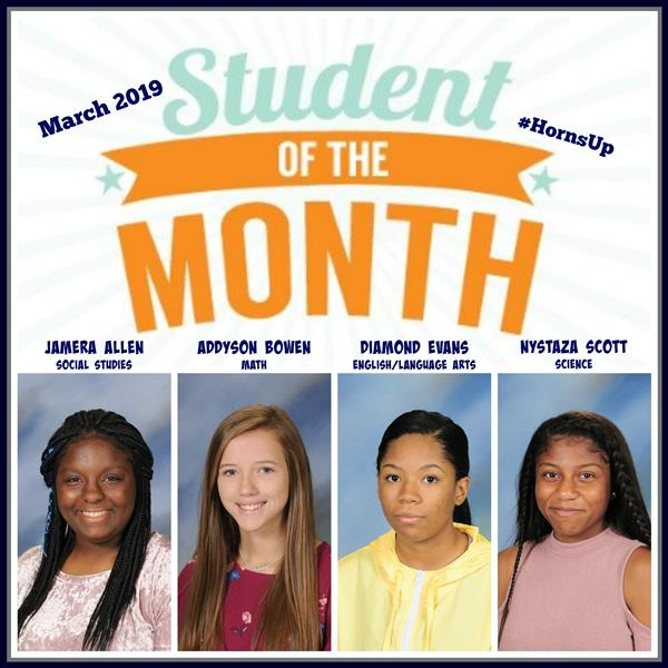 ACADEMIC STUDENTS OF THE MONTH FOR Mar. 2019