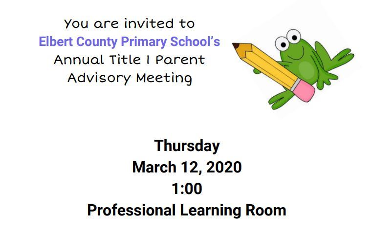 Title I Parent Advisory Meeting